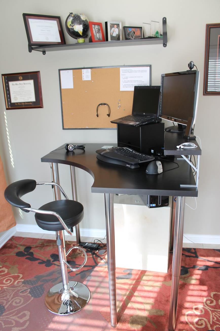 a tall inexpensive standing desk solution